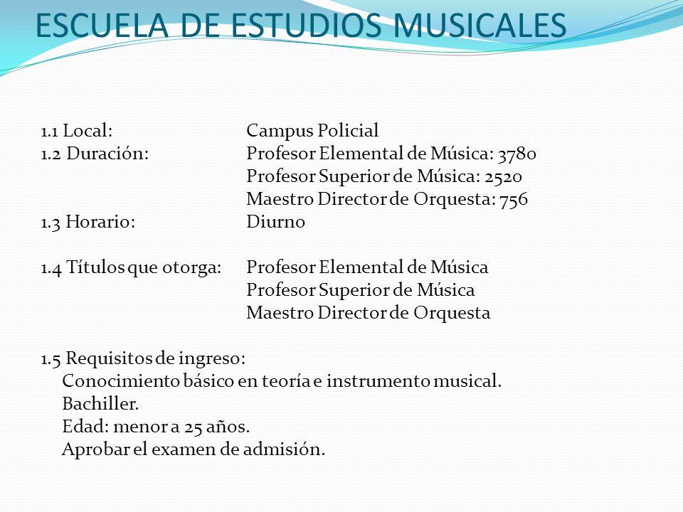 ESCUELA DE ESTUDIOS MUSICALES 1.1 Local:Campus Policial 1.2 Duración:Profesor Elemental de Música: 3780 Profesor Superior de Música: 2520 Maestro Dire
