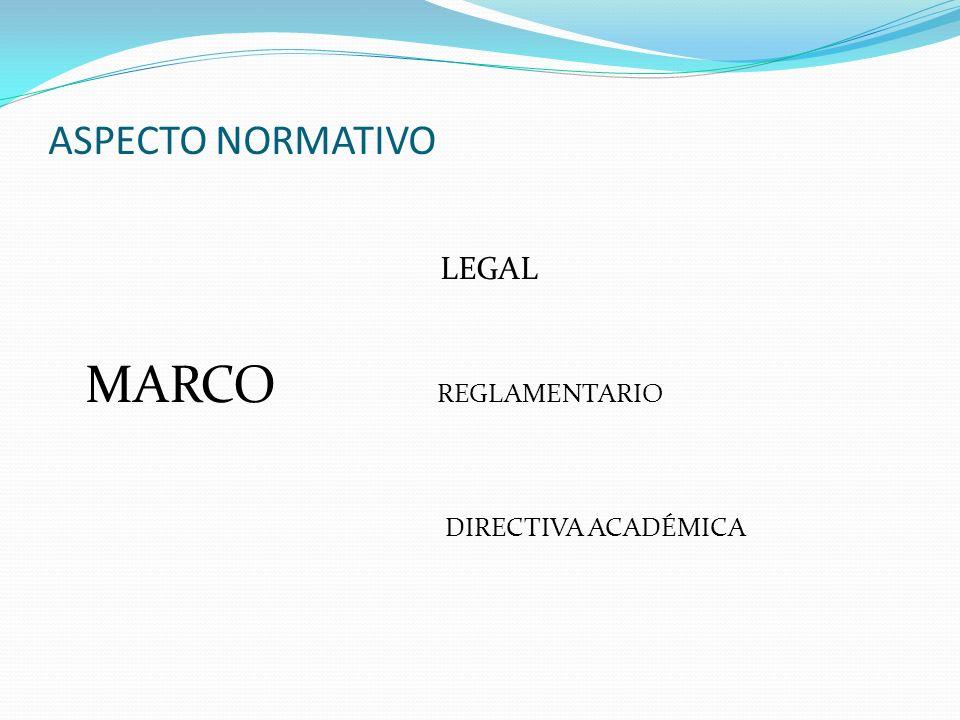 ASPECTO NORMATIVO LEGAL MARCO REGLAMENTARIO DIRECTIVA ACADÉMICA