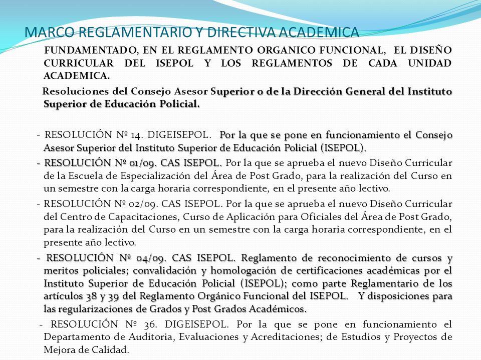 MARCO REGLAMENTARIO Y DIRECTIVA ACADEMICA FUNDAMENTADO, EN EL REGLAMENTO ORGANICO FUNCIONAL, EL DISEÑO CURRICULAR DEL ISEPOL Y LOS REGLAMENTOS DE CADA
