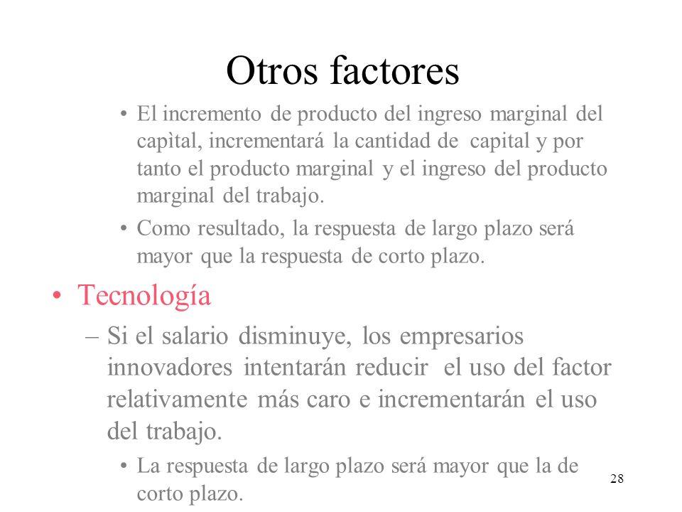 28 El incremento de producto del ingreso marginal del capìtal, incrementará la cantidad de capital y por tanto el producto marginal y el ingreso del p
