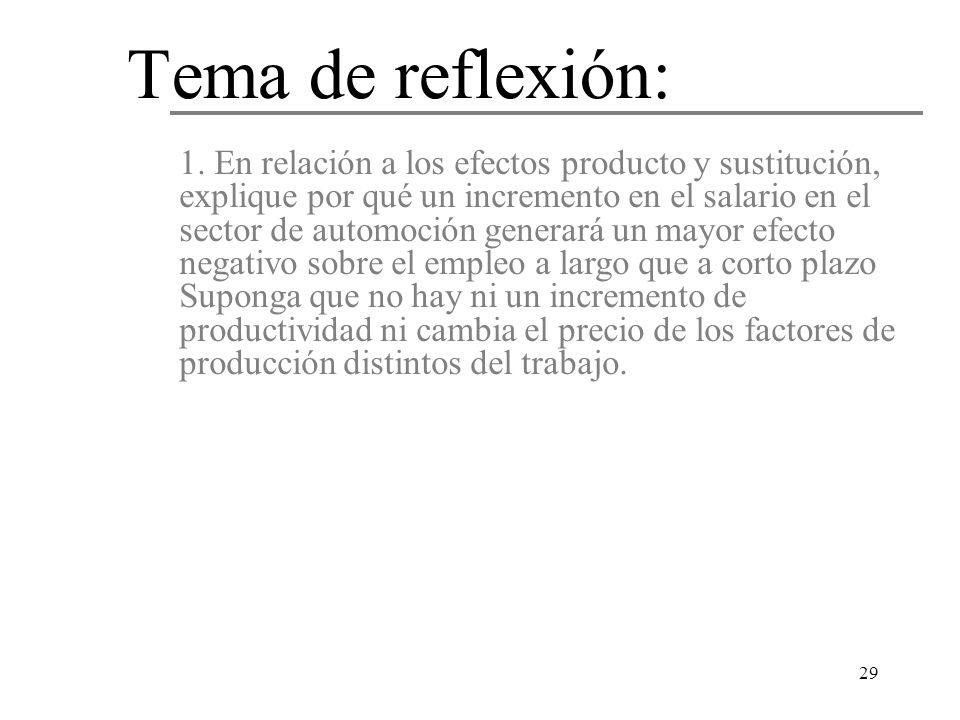 29 1. En relación a los efectos producto y sustitución, explique por qué un incremento en el salario en el sector de automoción generará un mayor efec
