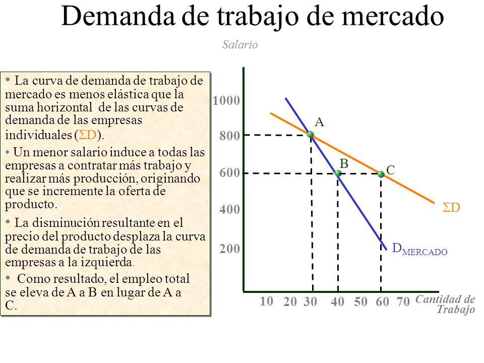 La curva de demanda de trabajo de mercado es menos elástica que la suma horizontal de las curvas de demanda de las empresas individuales ( D). Salario