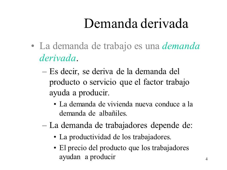 4 La demanda de trabajo es una demanda derivada. –Es decir, se deriva de la demanda del producto o servicio que el factor trabajo ayuda a producir. La