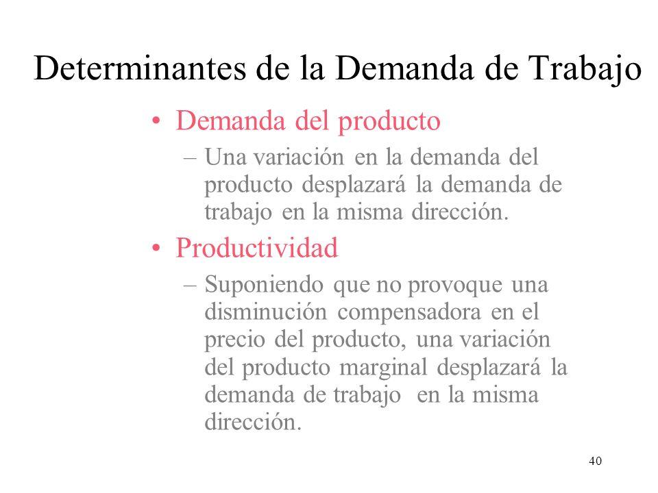 40 Demanda del producto –Una variación en la demanda del producto desplazará la demanda de trabajo en la misma dirección. Productividad –Suponiendo qu