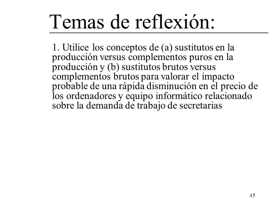 45 1. Utilice los conceptos de (a) sustitutos en la producción versus complementos puros en la producción y (b) sustitutos brutos versus complementos