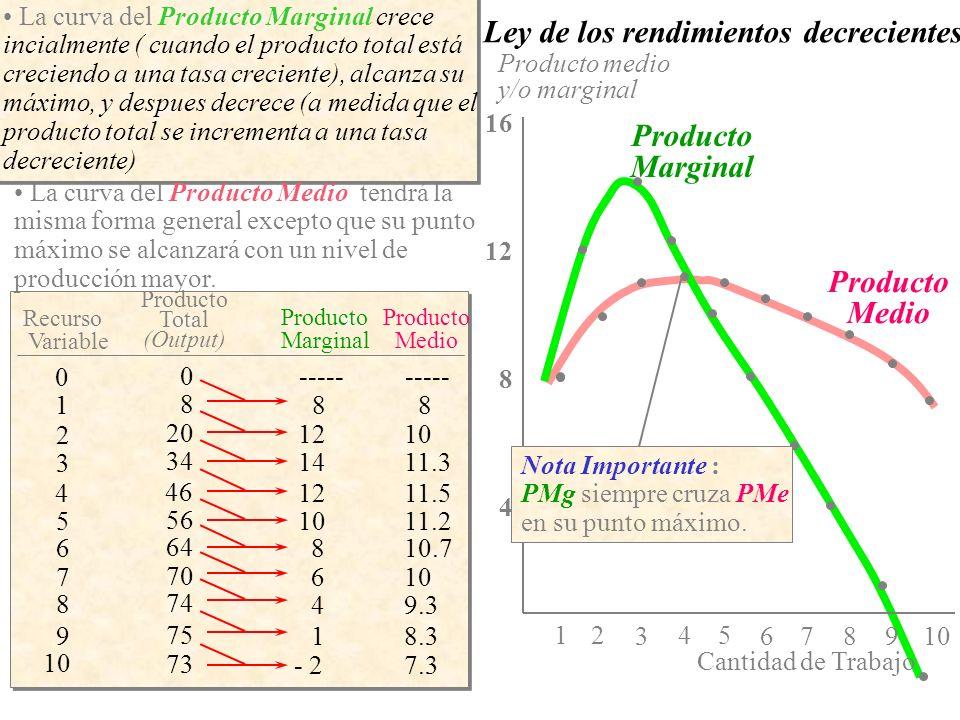 Product Medio Producto Marginal Pme, PMg Cantidad trabajo 543 21 4 8 12 16 67 8 910 Producto Total PT 543 21 20 30 40 50 60 70 80 10 67 8 9 Cantidad trabajo Se puede observar la relación entre las curvas de PT, PMg y Pme.