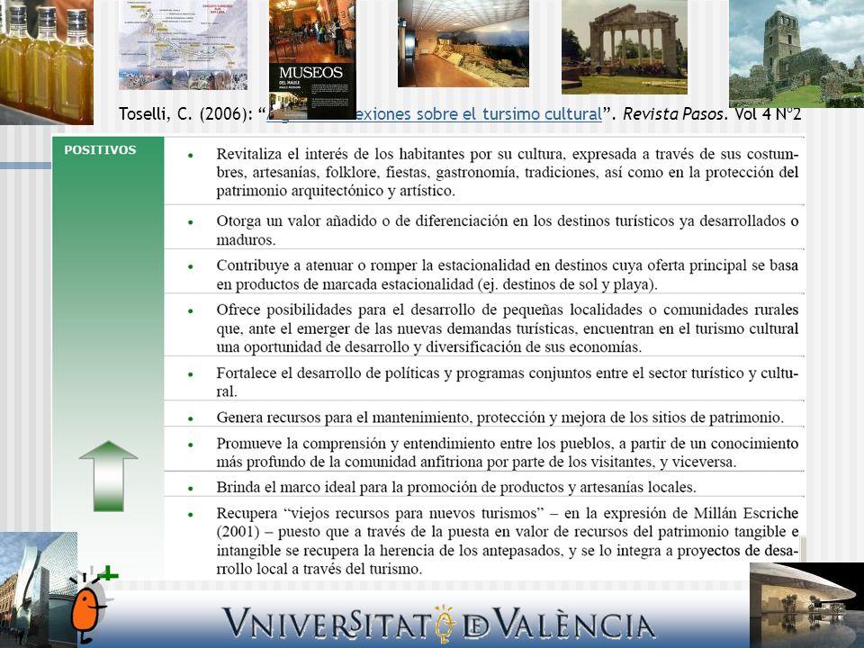 Toselli, C. (2006): Algunas reflexiones sobre el tursimo cultural. Revista Pasos. Vol 4 Nº2Algunas reflexiones sobre el tursimo cultural