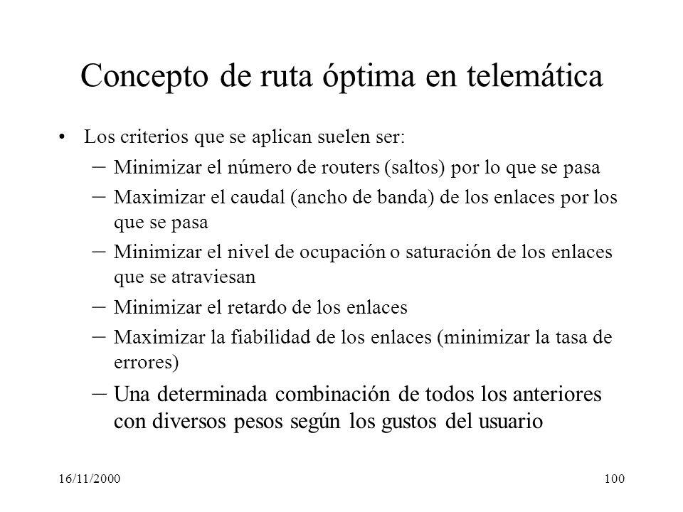 16/11/2000100 Concepto de ruta óptima en telemática Los criterios que se aplican suelen ser: – Minimizar el número de routers (saltos) por lo que se p