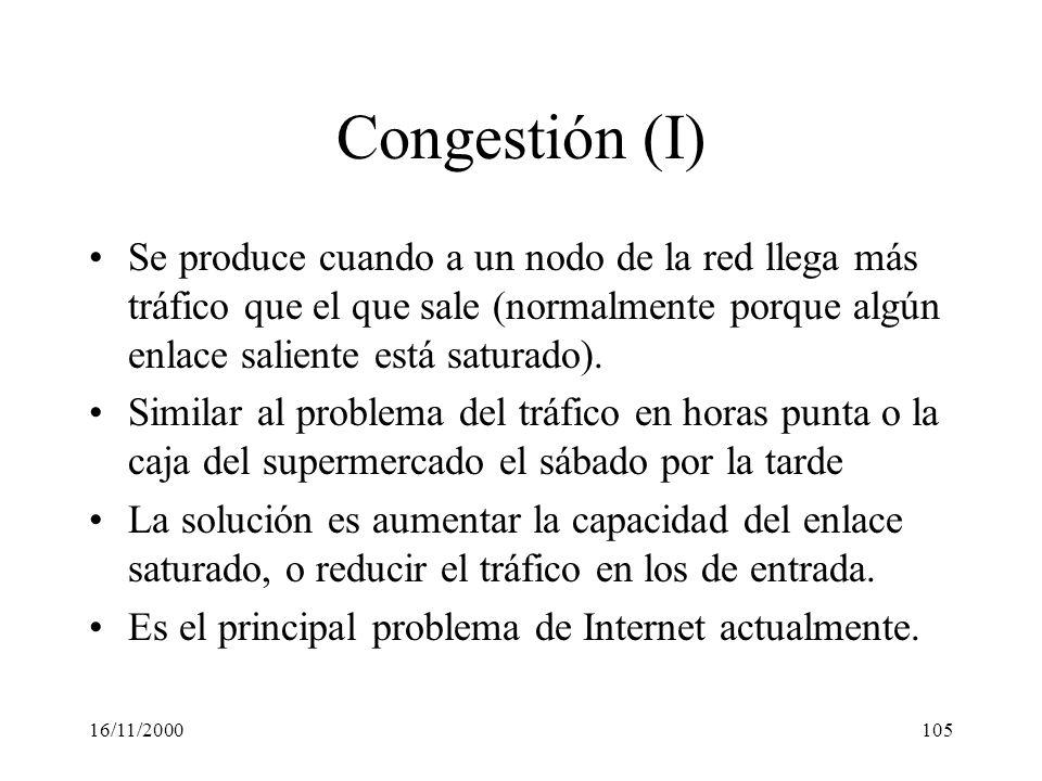 16/11/2000105 Congestión (I) Se produce cuando a un nodo de la red llega más tráfico que el que sale (normalmente porque algún enlace saliente está sa