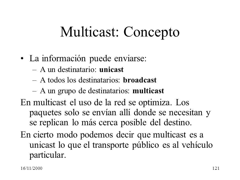 16/11/2000121 Multicast: Concepto La información puede enviarse: –A un destinatario: unicast –A todos los destinatarios: broadcast –A un grupo de dest