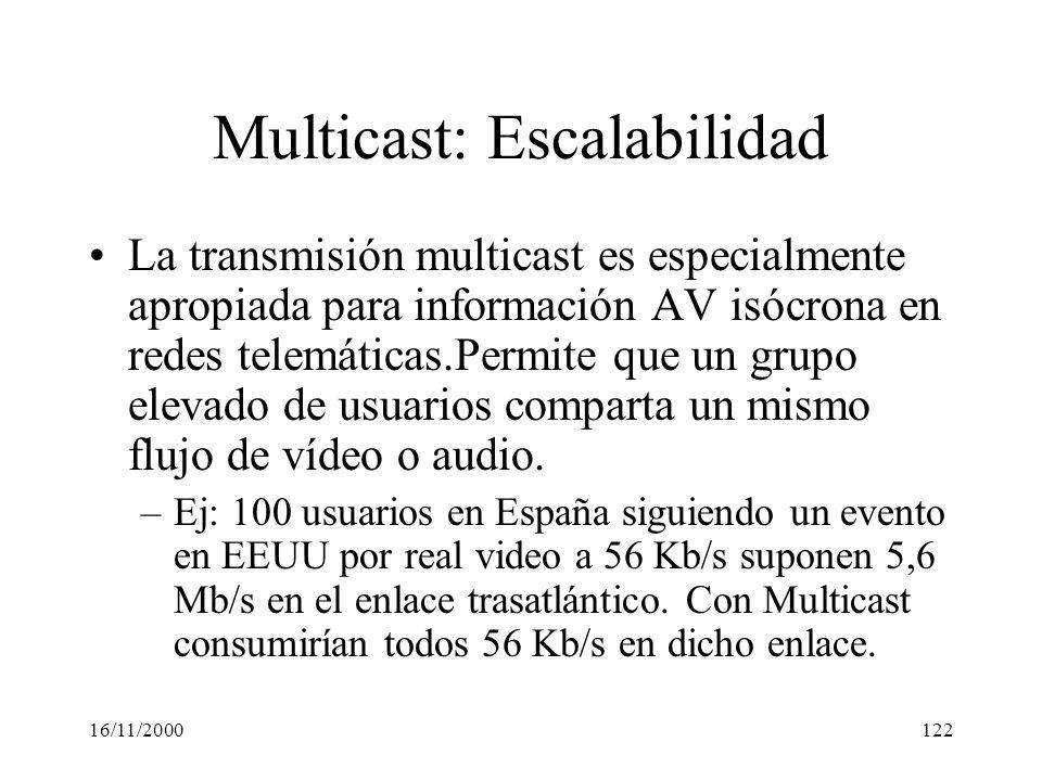 16/11/2000122 Multicast: Escalabilidad La transmisión multicast es especialmente apropiada para información AV isócrona en redes telemáticas.Permite q