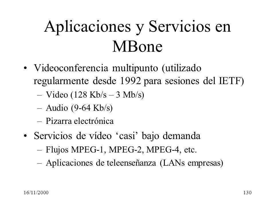 16/11/2000130 Aplicaciones y Servicios en MBone Videoconferencia multipunto (utilizado regularmente desde 1992 para sesiones del IETF) –Video (128 Kb/