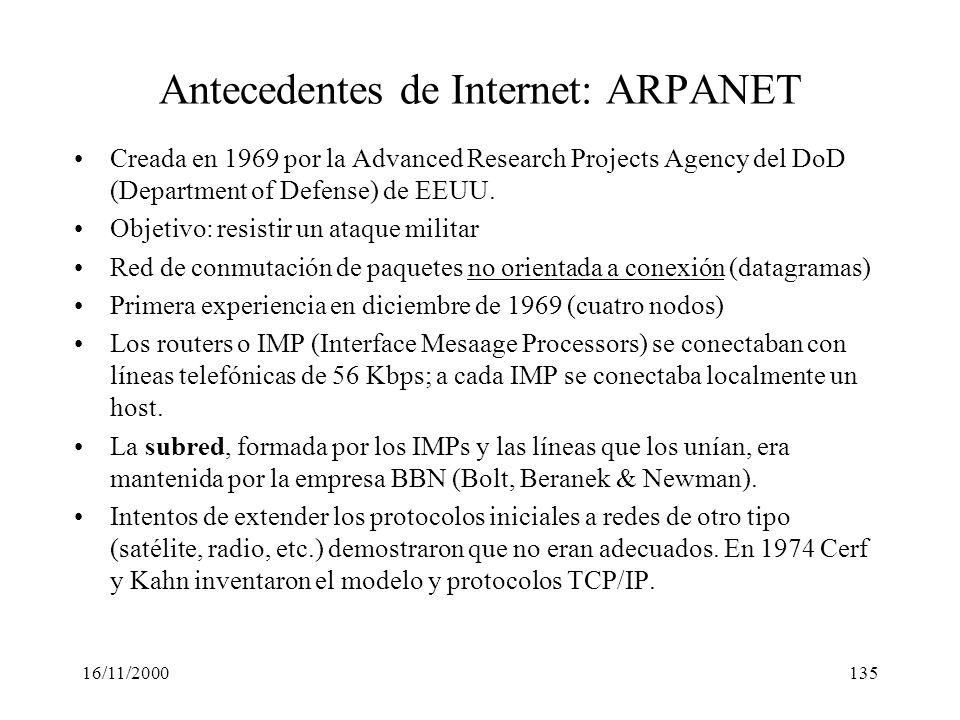 16/11/2000135 Antecedentes de Internet: ARPANET Creada en 1969 por la Advanced Research Projects Agency del DoD (Department of Defense) de EEUU. Objet