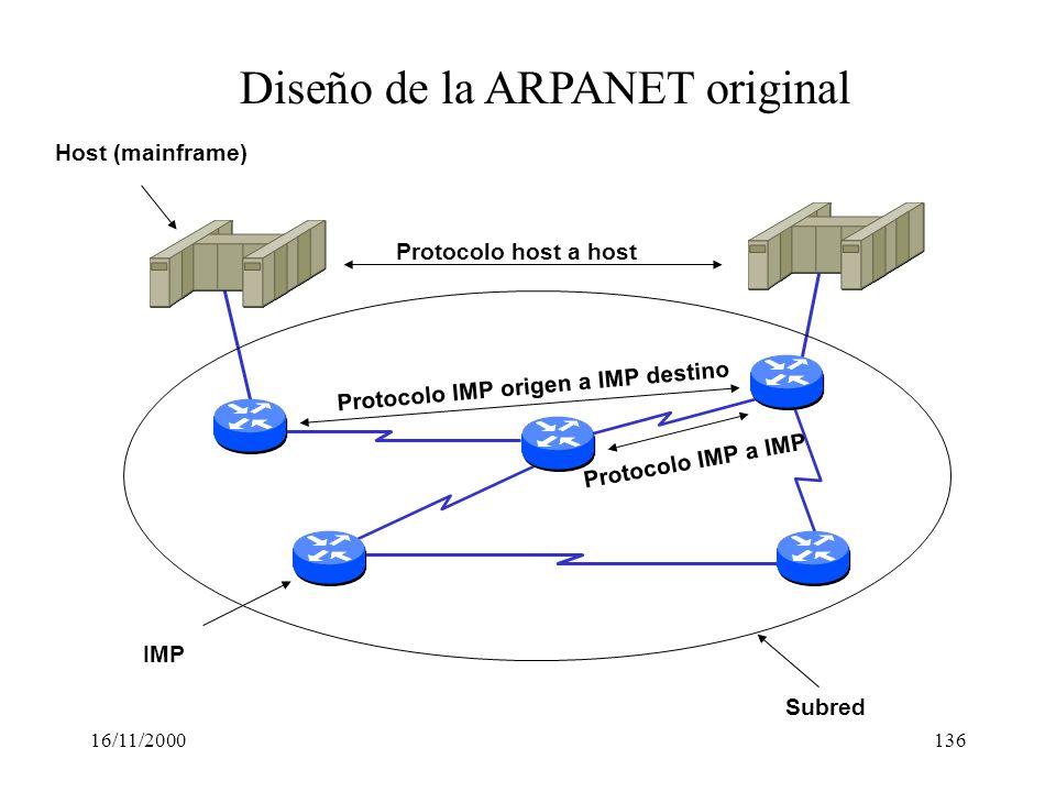 16/11/2000136 Diseño de la ARPANET original Protocolo host a host Protocolo IMP origen a IMP destino Protocolo IMP a IMP IMP Subred Host (mainframe)