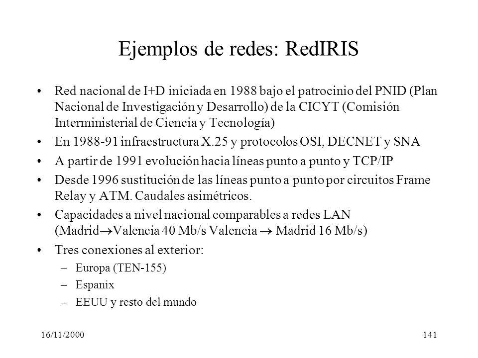 16/11/2000141 Ejemplos de redes: RedIRIS Red nacional de I+D iniciada en 1988 bajo el patrocinio del PNID (Plan Nacional de Investigación y Desarrollo