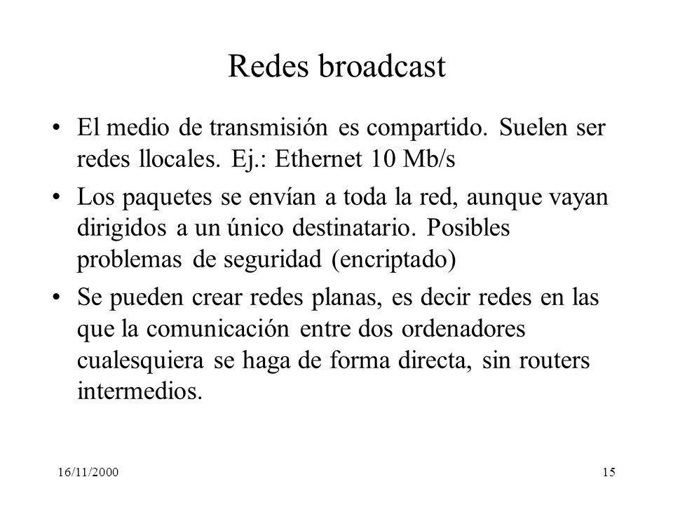 16/11/200015 Redes broadcast El medio de transmisión es compartido. Suelen ser redes llocales. Ej.: Ethernet 10 Mb/s Los paquetes se envían a toda la