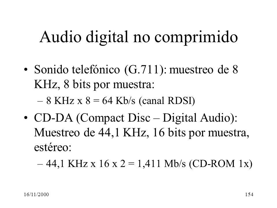 16/11/2000154 Audio digital no comprimido Sonido telefónico (G.711): muestreo de 8 KHz, 8 bits por muestra: –8 KHz x 8 = 64 Kb/s (canal RDSI) CD-DA (C