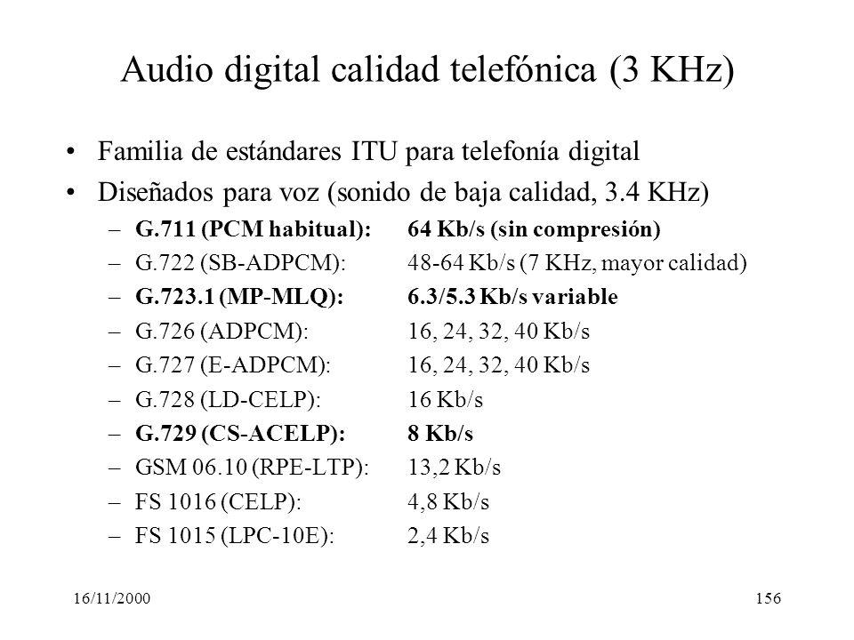16/11/2000156 Audio digital calidad telefónica (3 KHz) Familia de estándares ITU para telefonía digital Diseñados para voz (sonido de baja calidad, 3.