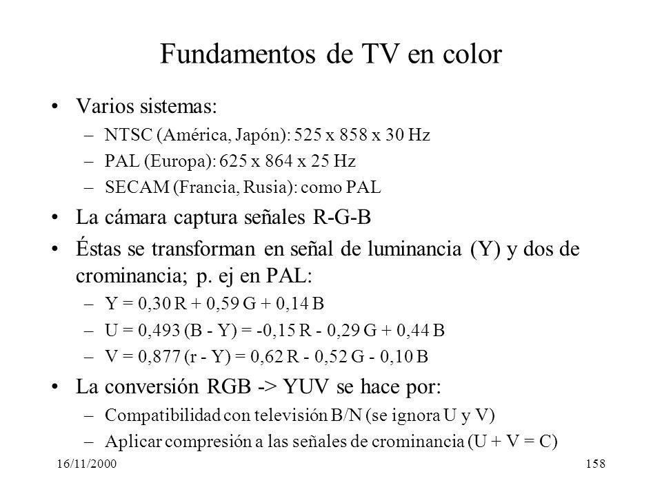 16/11/2000158 Fundamentos de TV en color Varios sistemas: –NTSC (América, Japón): 525 x 858 x 30 Hz –PAL (Europa): 625 x 864 x 25 Hz –SECAM (Francia,
