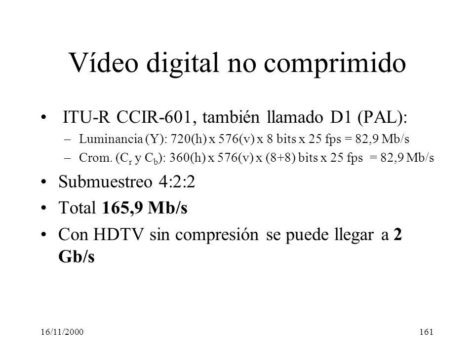 16/11/2000161 Vídeo digital no comprimido ITU-R CCIR-601, también llamado D1 (PAL): –Luminancia (Y): 720(h) x 576(v) x 8 bits x 25 fps = 82,9 Mb/s –Cr