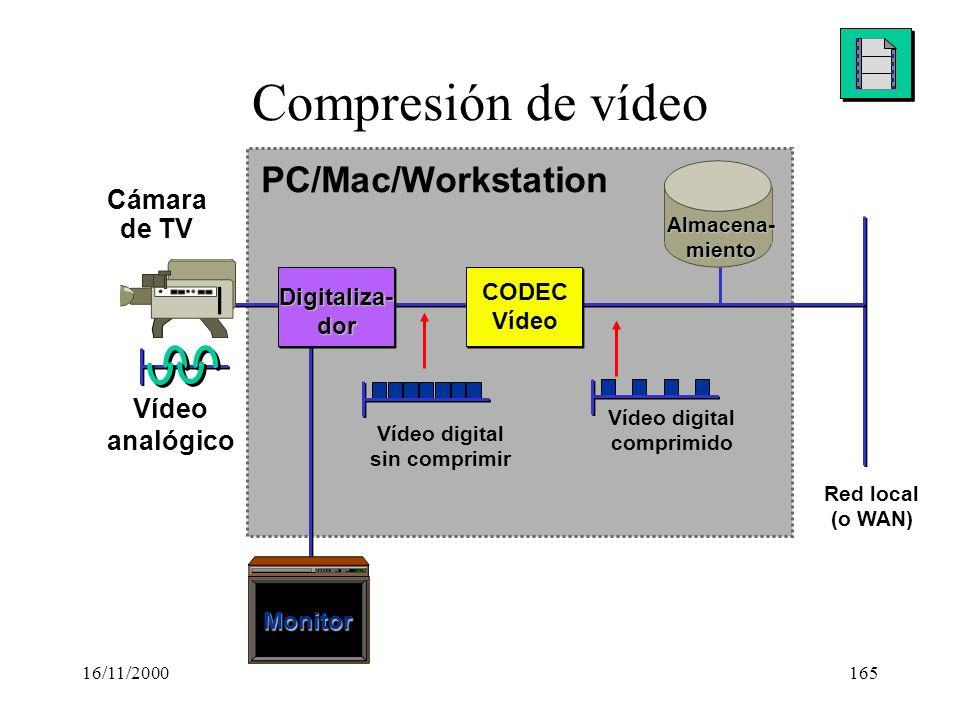 16/11/2000165 Compresión de vídeo PC/Mac/Workstation Monitor Vídeo digital comprimido Vídeo digital sin comprimir Cámara de TV Vídeo analógico Almacen
