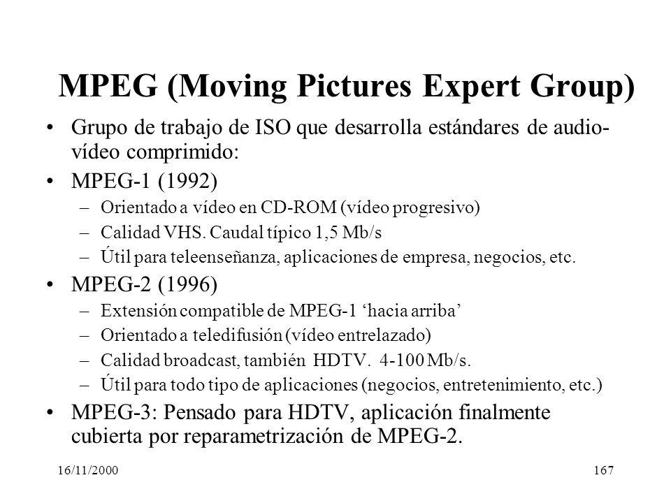 16/11/2000167 MPEG (Moving Pictures Expert Group) Grupo de trabajo de ISO que desarrolla estándares de audio- vídeo comprimido: MPEG-1 (1992) –Orienta