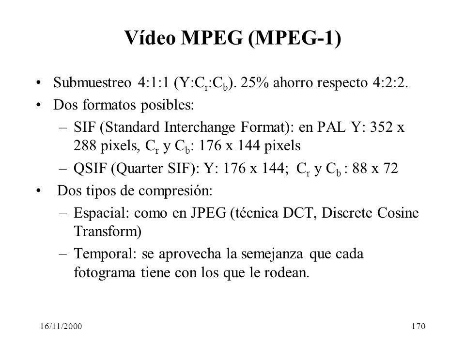 16/11/2000170 Vídeo MPEG (MPEG-1) Submuestreo 4:1:1 (Y:C r :C b ). 25% ahorro respecto 4:2:2. Dos formatos posibles: –SIF (Standard Interchange Format