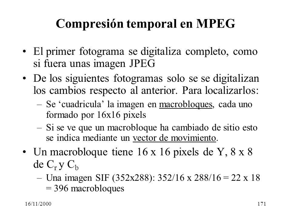 16/11/2000171 Compresión temporal en MPEG El primer fotograma se digitaliza completo, como si fuera unas imagen JPEG De los siguientes fotogramas solo