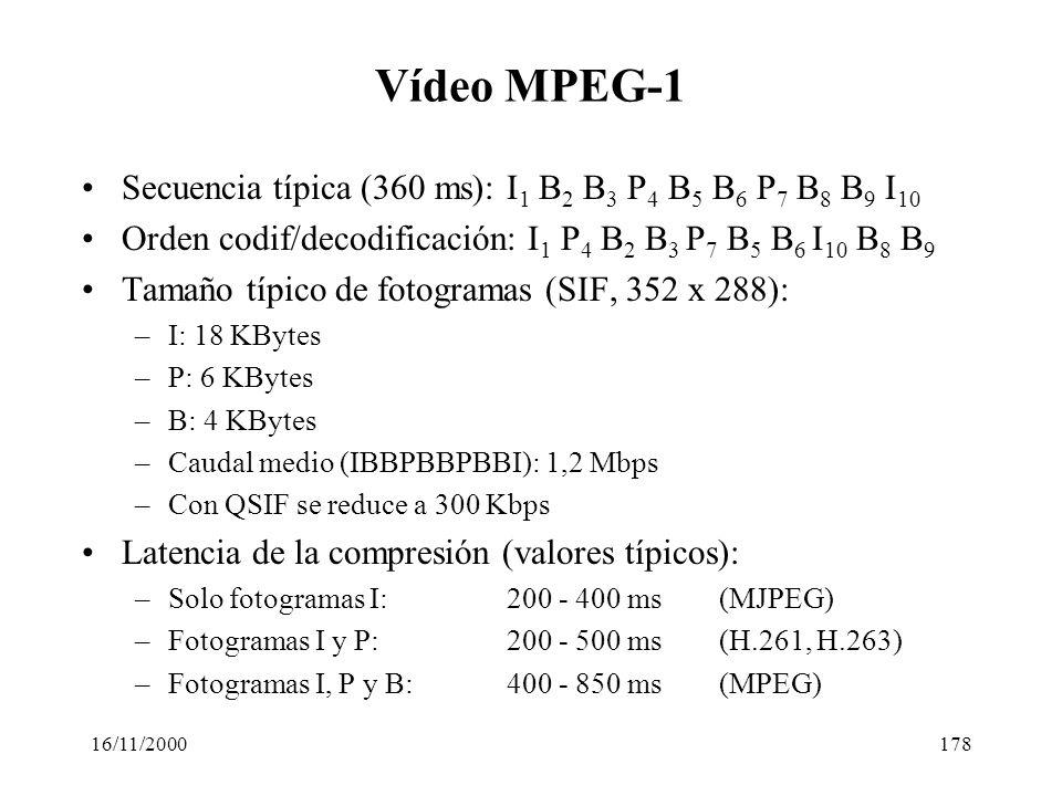 16/11/2000178 Vídeo MPEG-1 Secuencia típica (360 ms): I 1 B 2 B 3 P 4 B 5 B 6 P 7 B 8 B 9 I 10 Orden codif/decodificación: I 1 P 4 B 2 B 3 P 7 B 5 B 6