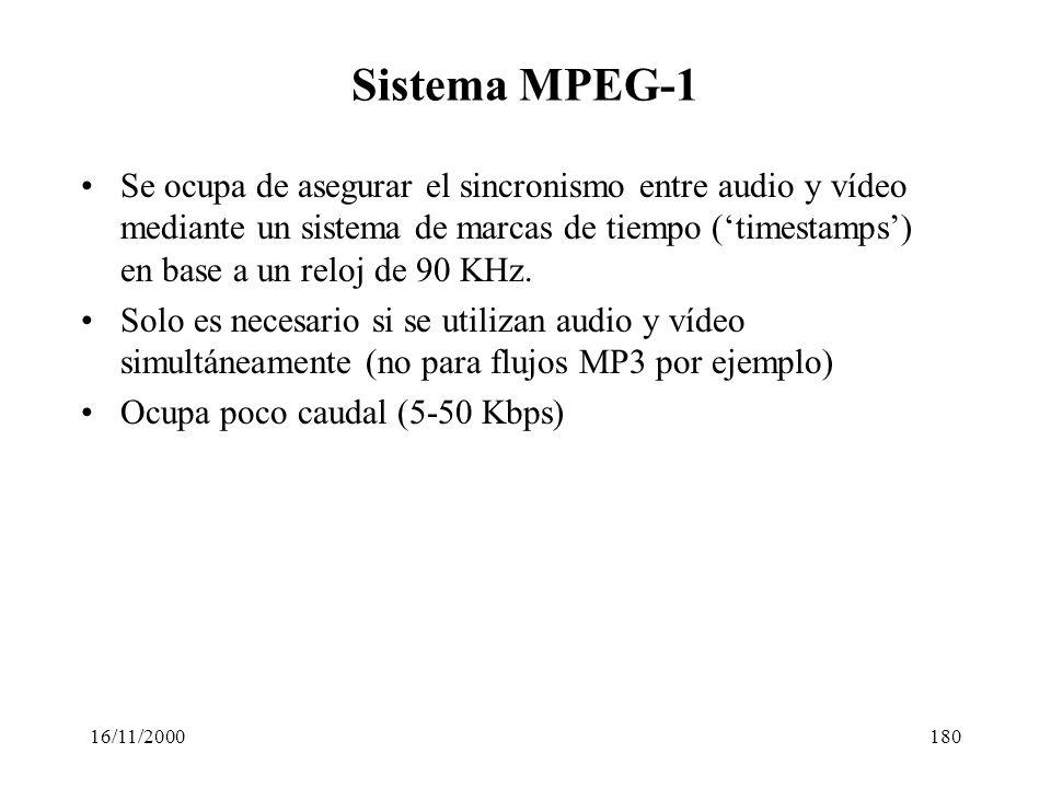 16/11/2000180 Sistema MPEG-1 Se ocupa de asegurar el sincronismo entre audio y vídeo mediante un sistema de marcas de tiempo (timestamps) en base a un