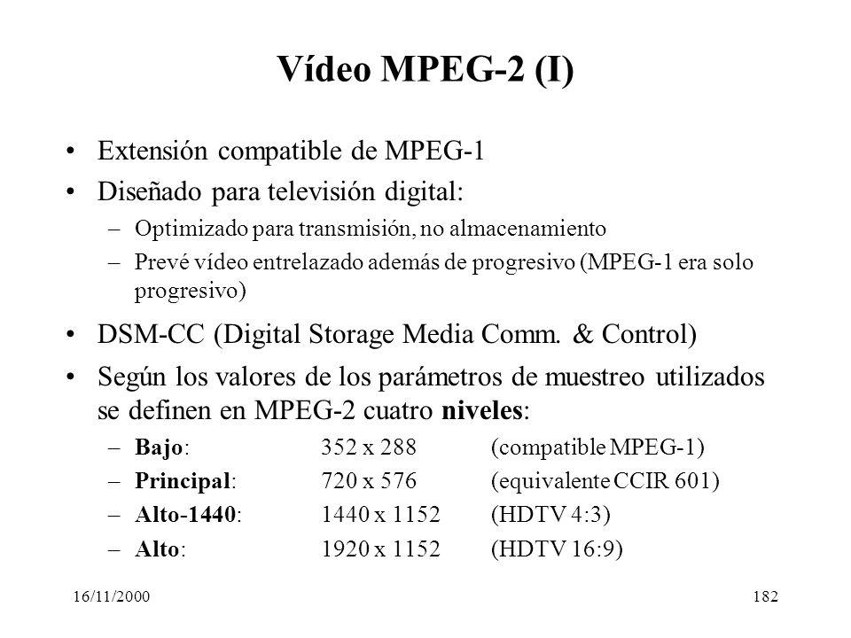 16/11/2000182 Vídeo MPEG-2 (I) Extensión compatible de MPEG-1 Diseñado para televisión digital: –Optimizado para transmisión, no almacenamiento –Prevé