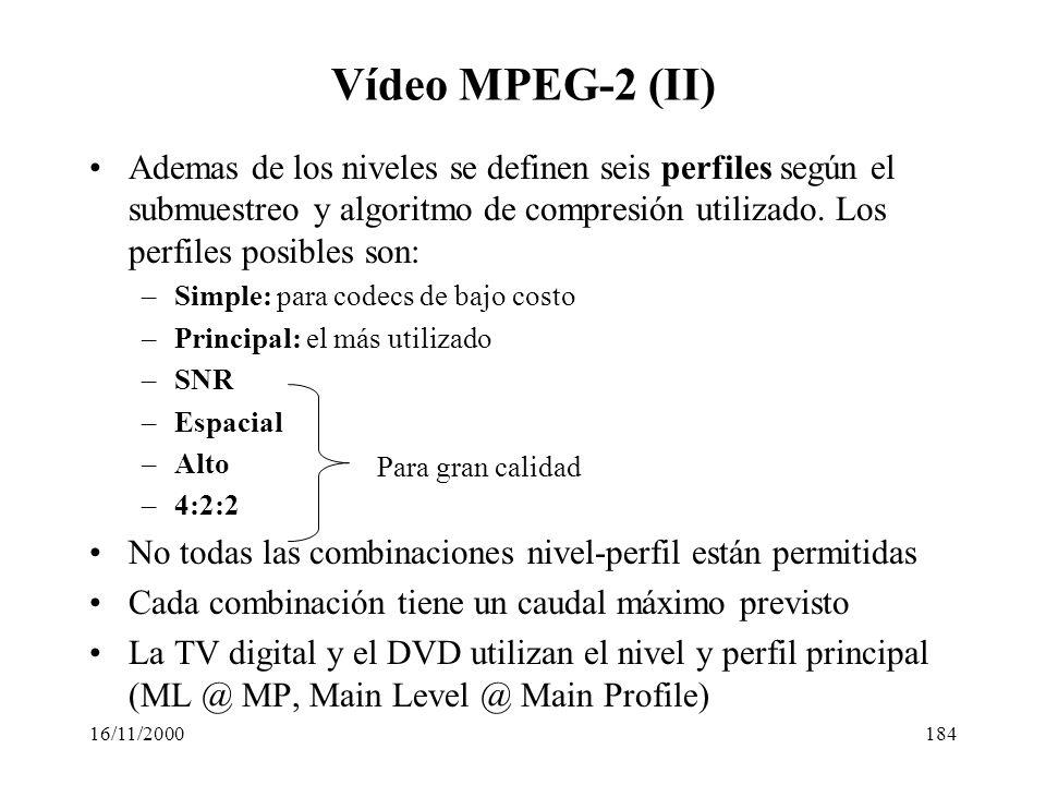 16/11/2000184 Vídeo MPEG-2 (II) Ademas de los niveles se definen seis perfiles según el submuestreo y algoritmo de compresión utilizado. Los perfiles
