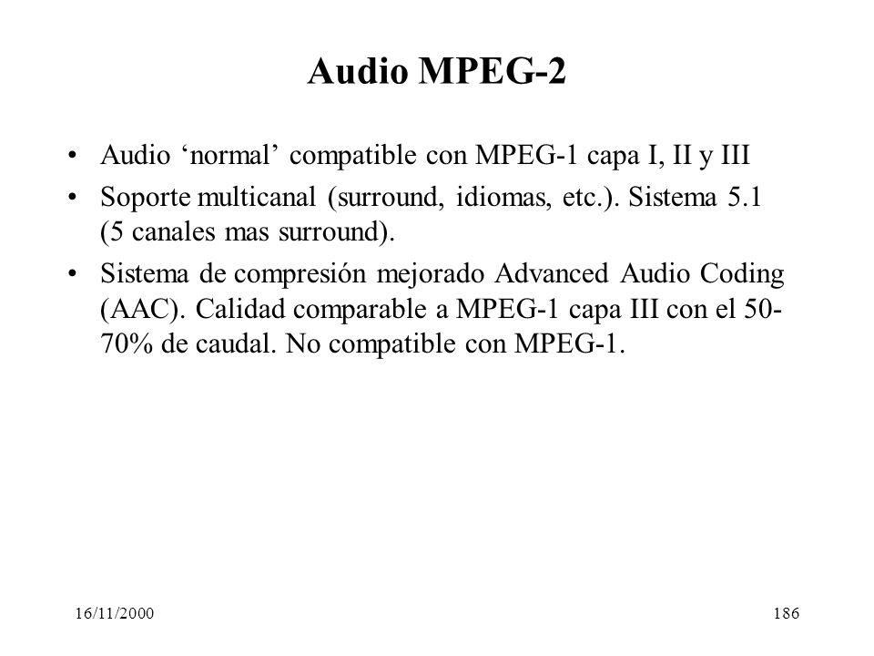 16/11/2000186 Audio MPEG-2 Audio normal compatible con MPEG-1 capa I, II y III Soporte multicanal (surround, idiomas, etc.). Sistema 5.1 (5 canales ma