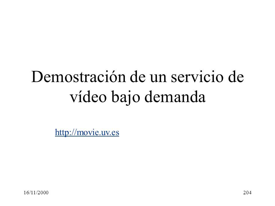 16/11/2000204 Demostración de un servicio de vídeo bajo demanda http://movie.uv.es