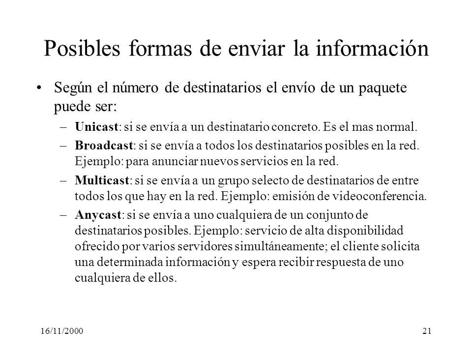 16/11/200021 Posibles formas de enviar la información Según el número de destinatarios el envío de un paquete puede ser: –Unicast: si se envía a un de