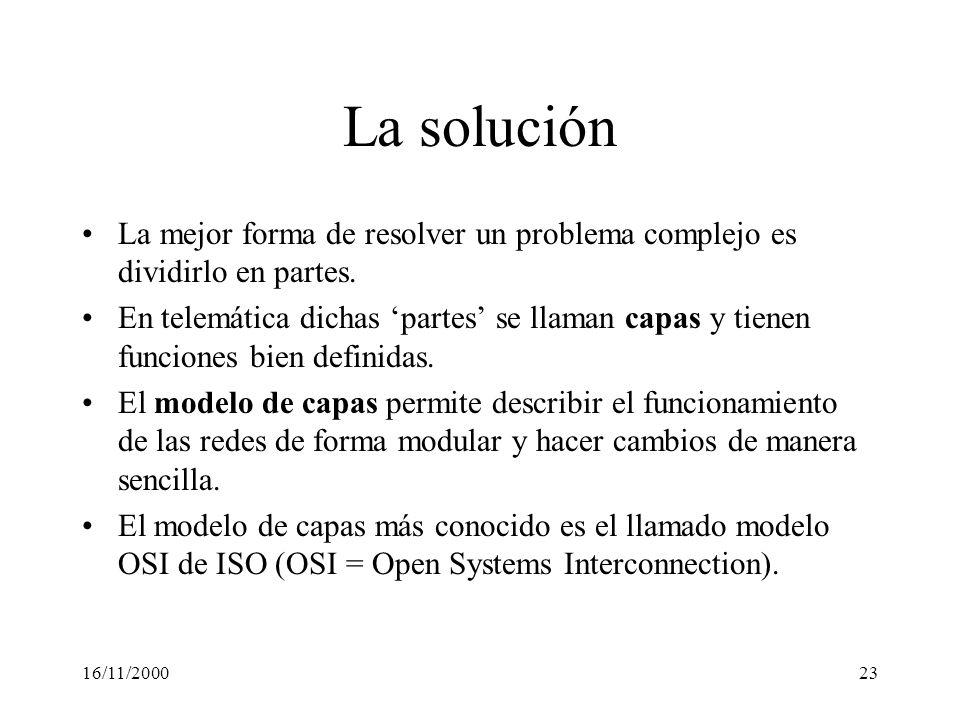 16/11/200023 La solución La mejor forma de resolver un problema complejo es dividirlo en partes. En telemática dichas partes se llaman capas y tienen