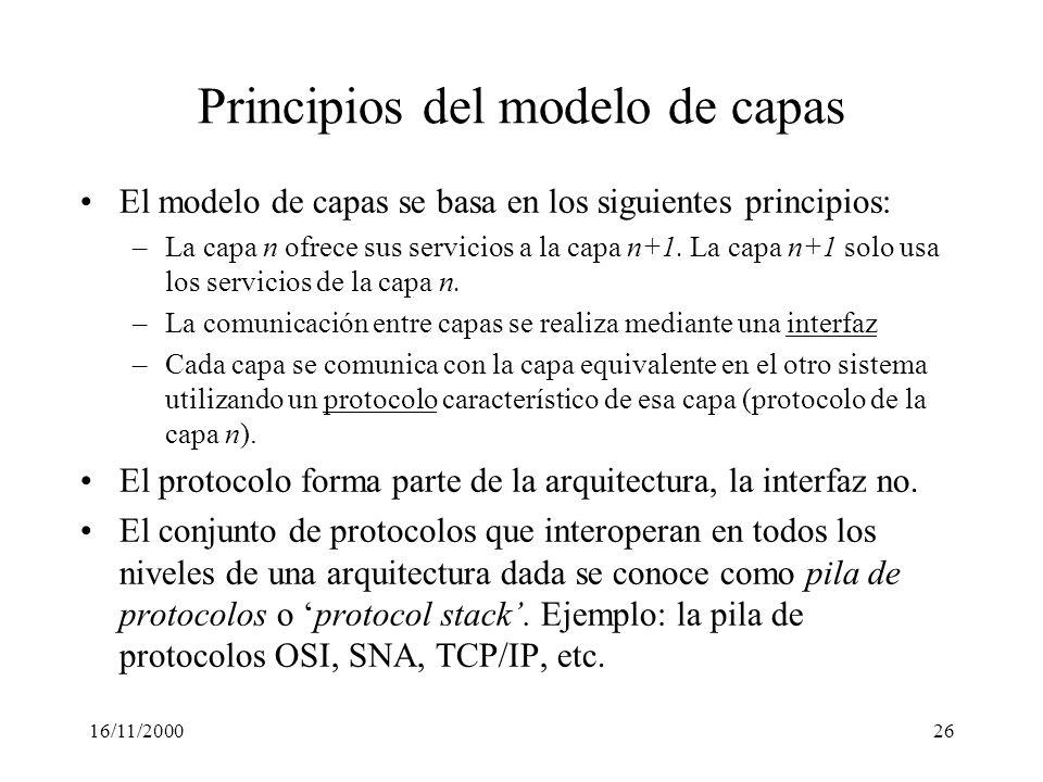 16/11/200026 Principios del modelo de capas El modelo de capas se basa en los siguientes principios: –La capa n ofrece sus servicios a la capa n+1. La