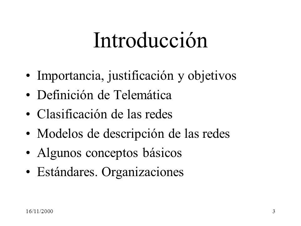 16/11/20003 Introducción Importancia, justificación y objetivos Definición de Telemática Clasificación de las redes Modelos de descripción de las rede