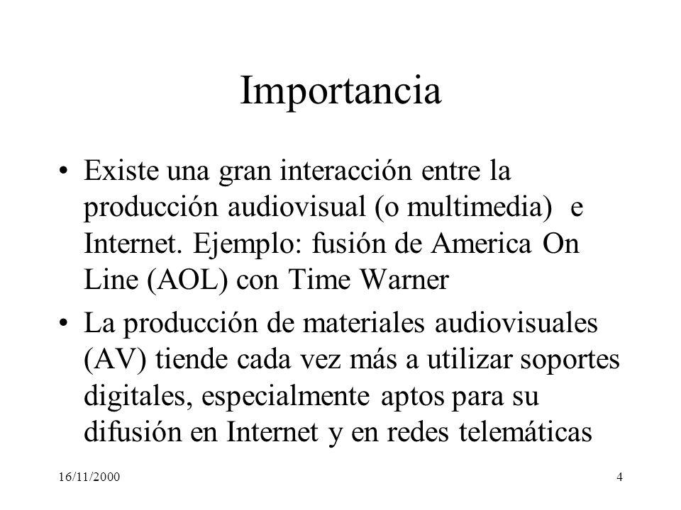 16/11/20004 Importancia Existe una gran interacción entre la producción audiovisual (o multimedia) e Internet. Ejemplo: fusión de America On Line (AOL