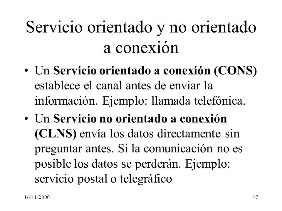 16/11/200047 Servicio orientado y no orientado a conexión Un Servicio orientado a conexión (CONS) establece el canal antes de enviar la información. E