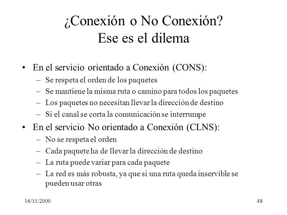 16/11/200048 ¿Conexión o No Conexión? Ese es el dilema En el servicio orientado a Conexión (CONS): –Se respeta el orden de los paquetes –Se mantiene l
