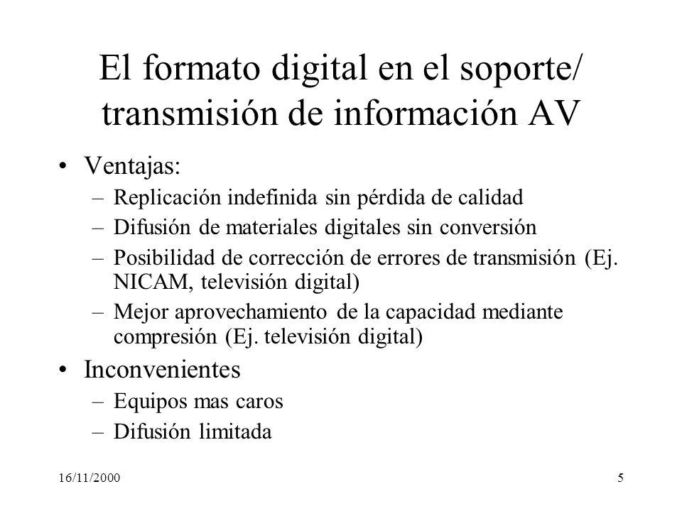 16/11/20005 El formato digital en el soporte/ transmisión de información AV Ventajas: –Replicación indefinida sin pérdida de calidad –Difusión de mate