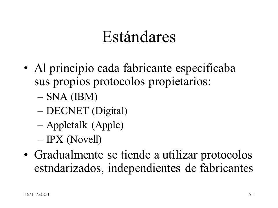 16/11/200051 Estándares Al principio cada fabricante especificaba sus propios protocolos propietarios: –SNA (IBM) –DECNET (Digital) –Appletalk (Apple)