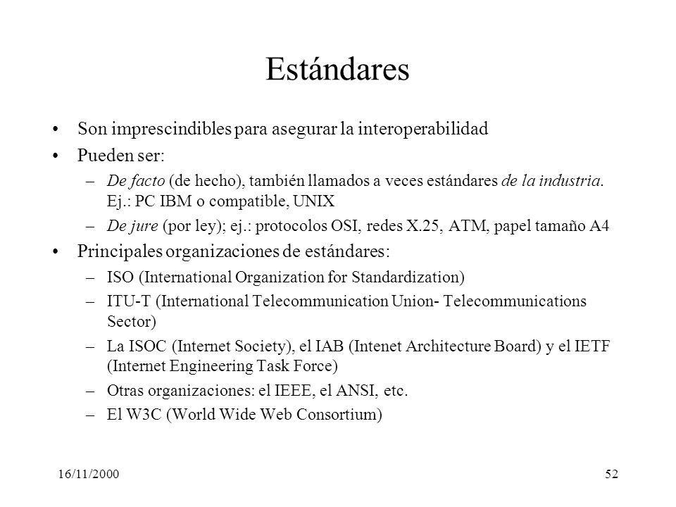 16/11/200052 Estándares Son imprescindibles para asegurar la interoperabilidad Pueden ser: –De facto (de hecho), también llamados a veces estándares d