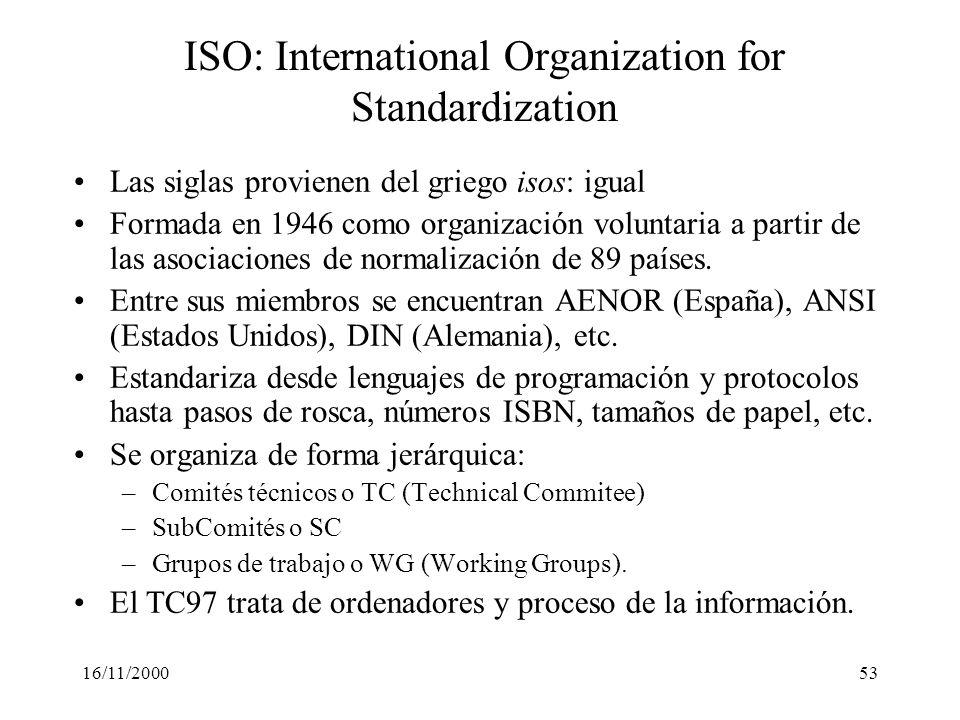 16/11/200053 ISO: International Organization for Standardization Las siglas provienen del griego isos: igual Formada en 1946 como organización volunta