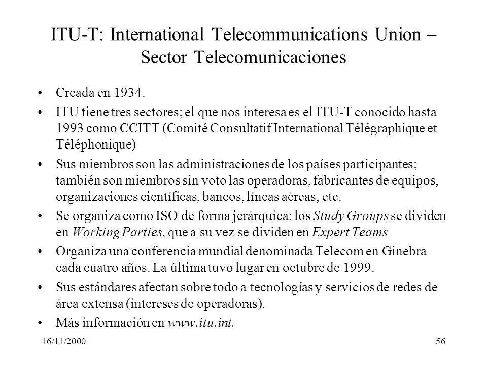 16/11/200056 ITU-T: International Telecommunications Union – Sector Telecomunicaciones Creada en 1934. ITU tiene tres sectores; el que nos interesa es