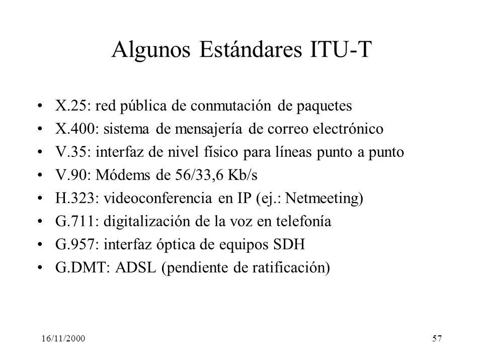 16/11/200057 Algunos Estándares ITU-T X.25: red pública de conmutación de paquetes X.400: sistema de mensajería de correo electrónico V.35: interfaz d