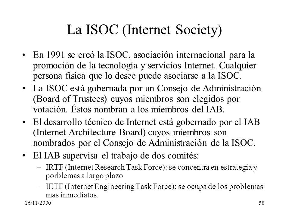 16/11/200058 La ISOC (Internet Society) En 1991 se creó la ISOC, asociación internacional para la promoción de la tecnología y servicios Internet. Cua