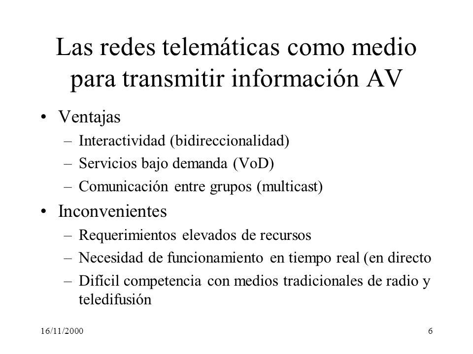 16/11/2000167 MPEG (Moving Pictures Expert Group) Grupo de trabajo de ISO que desarrolla estándares de audio- vídeo comprimido: MPEG-1 (1992) –Orientado a vídeo en CD-ROM (vídeo progresivo) –Calidad VHS.
