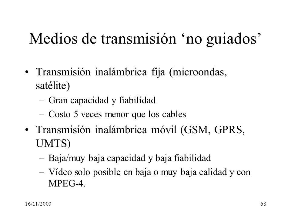 16/11/200068 Medios de transmisión no guiados Transmisión inalámbrica fija (microondas, satélite) –Gran capacidad y fiabilidad –Costo 5 veces menor qu